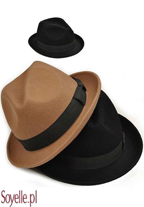 FEDORA filcowy kapelusik z kokardą, czarny