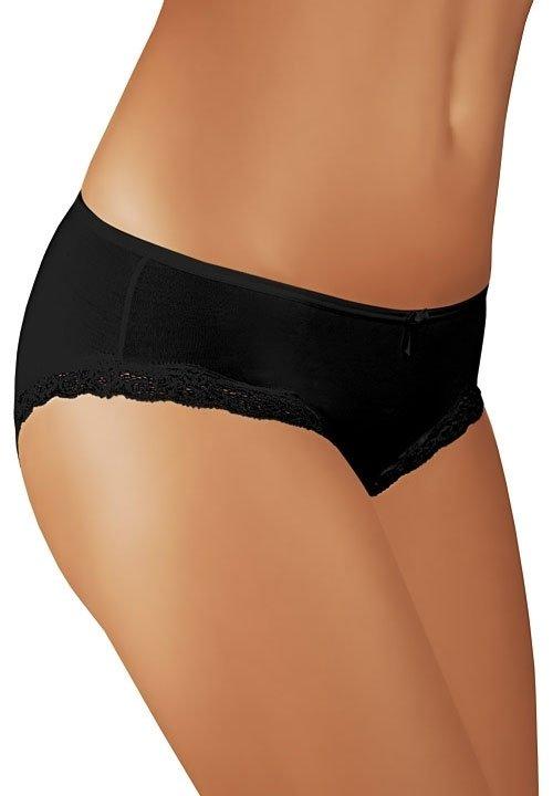 BBL018 majtki midi bikini z bawełny, koronkowe lamówki, czarne, białe