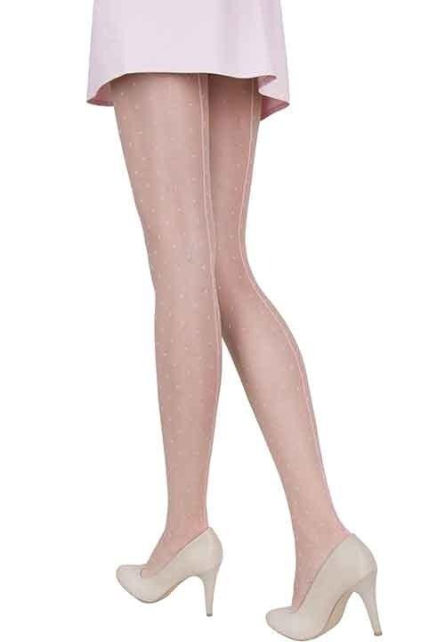 GAYA PINK beżowe rajstopy z różowym szwem i kropkami
