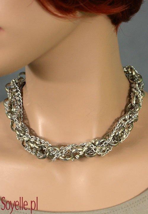 IRLA krótki naszyjnik z wielu łańcuszków, srebrny kolor