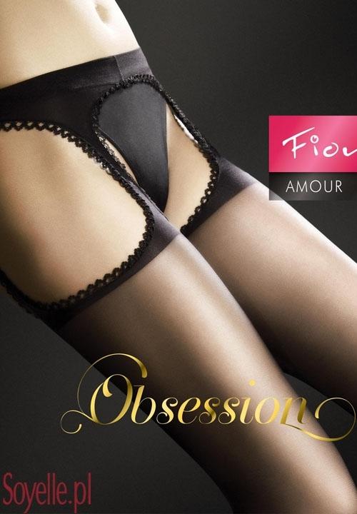 AMOUR rajstopy strip panty imitujące pończochy z pasem gładkie beżowe, czarne, białe, czerwone