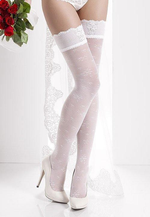 AURORA 05 pończochy w kwiaty, białe, ecri, wanilia