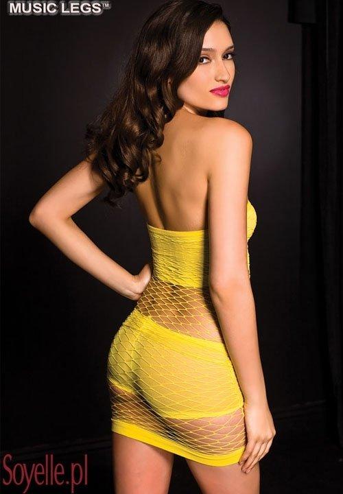 ELINE sukienka z siateczki z topem i szortami, w słonecznym kolorze