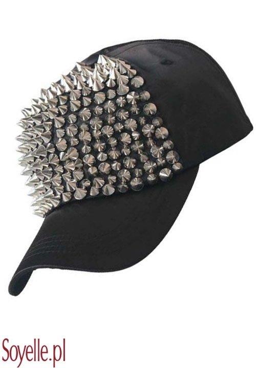 SHARP czapka z daszkiem, nabijana ćwiekami, beżowe półtno