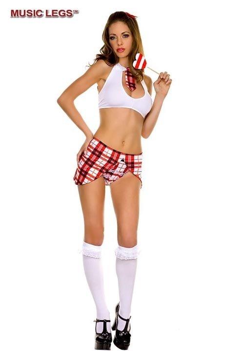 SCHOOL GIRL kostium niegrzecznej uczennicy: top + spódniczka + majteczki