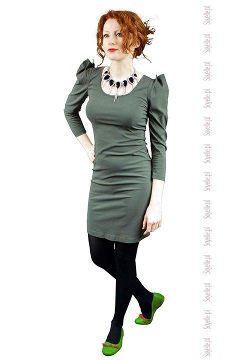 GREENE ołówkowa sukienka z bufkami, kolor khaki o złotym odcieniu