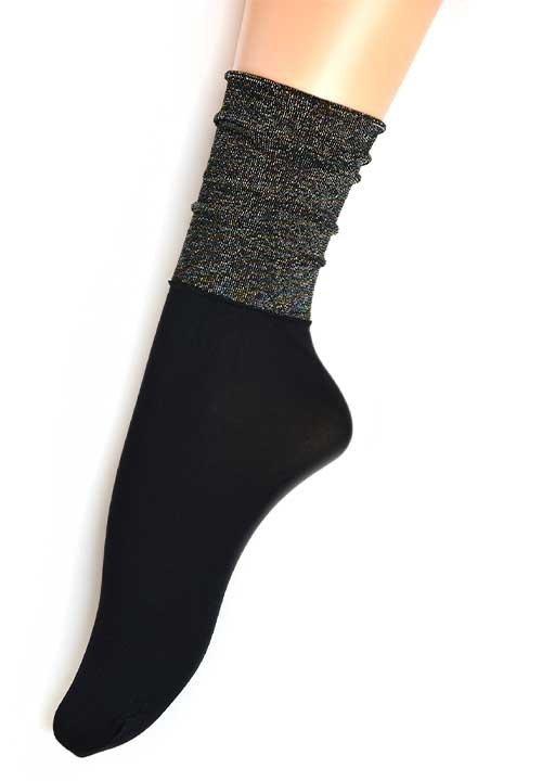 JASMINE czarne skarpetki z błyszczącą górą
