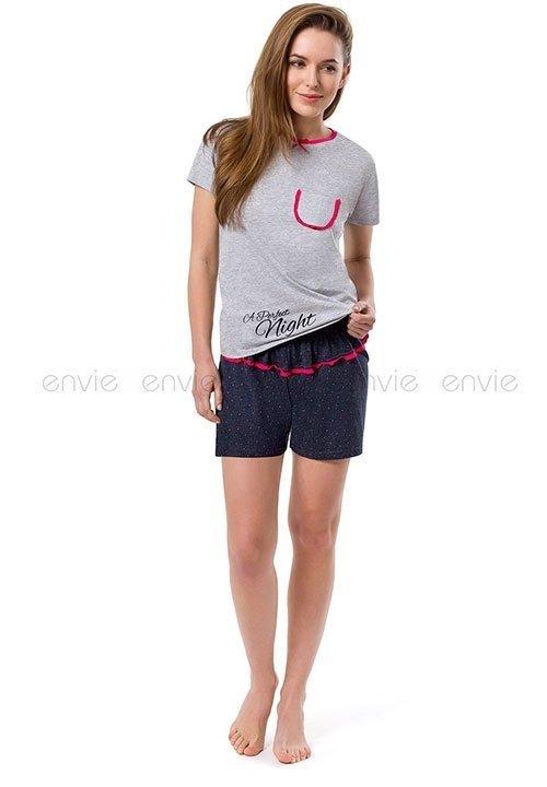 PERFECT NIGHT SHORTS piżama damska - szara bluzka i grafitowe szorty