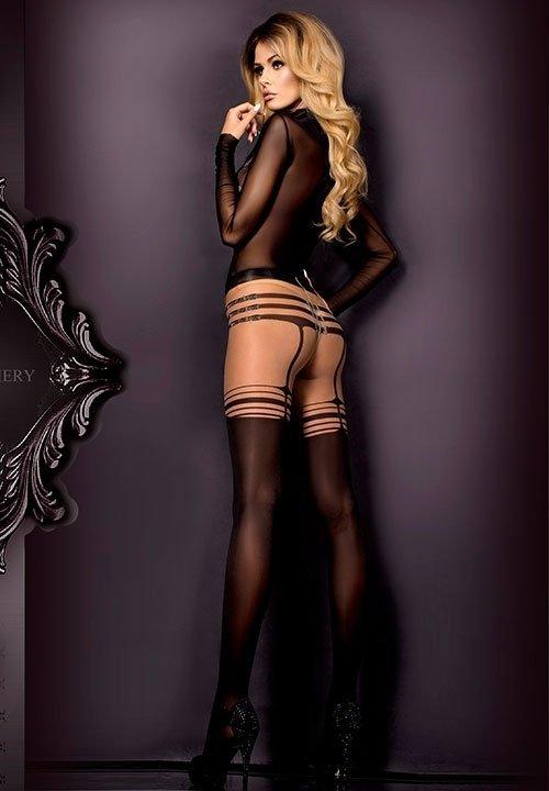 BALLERINA 304 rajstopy imitujące pończochy, czarne z beżową górą i srebrną nicią