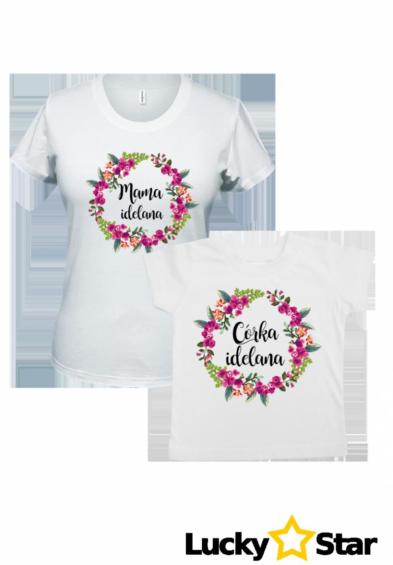 Koszulki dla mamy i córki Mama idealna/córka idealna