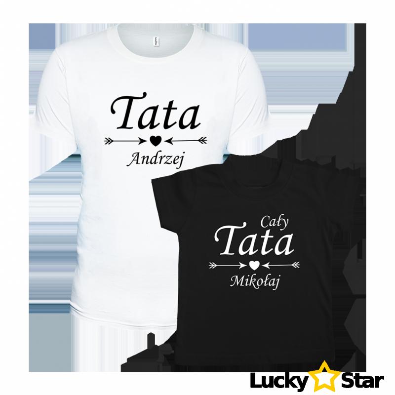 Zestaw koszulek Tata, cały tata. Twoje imiona