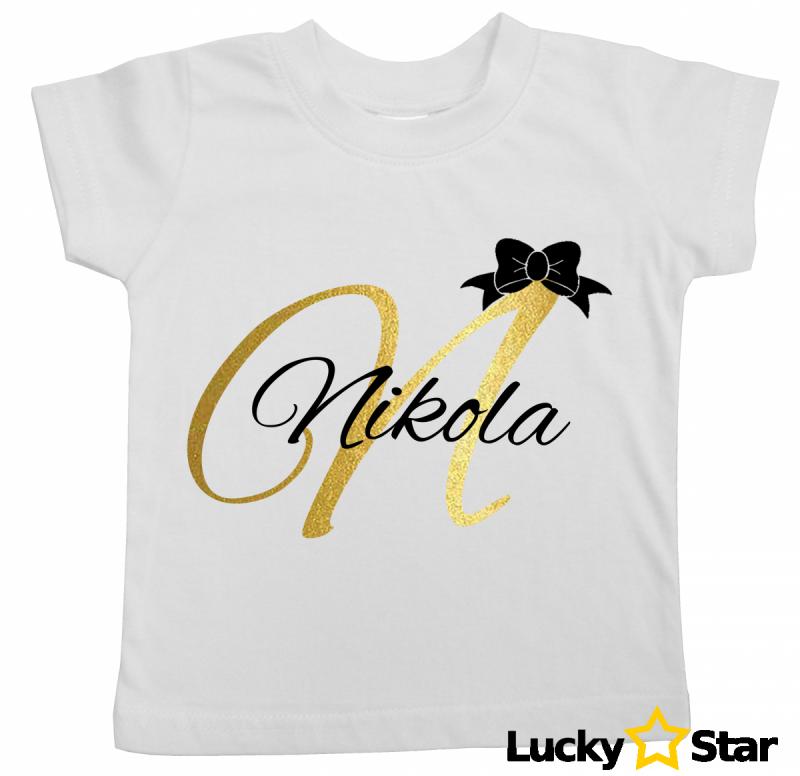 Koszulka inicjał + imię Dziewczynka/ Chłopiec
