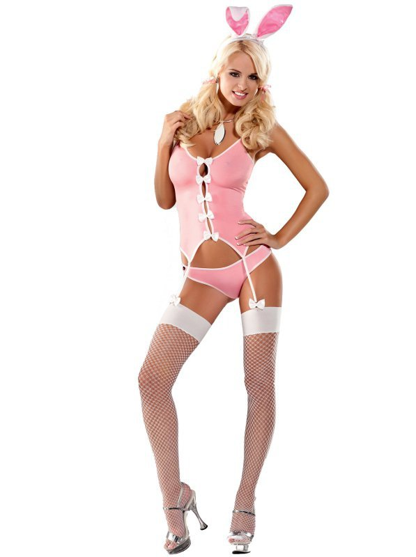Kostium sexy króliczek różowy Bunny L/XL