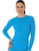Brubeck LS12810 Koszulka damska z długim rękawem ACTIVE WOOL jasnoniebieski