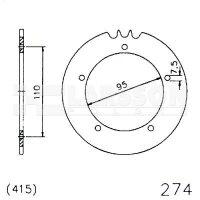 Zębatka tylna stalowa JT 20-0274-42, 42Z, rozmiar 415 2300972 Hercules KX-5 50