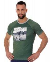 Brubeck SS13240A Koszulka męska City Air zielony - krajobraz
