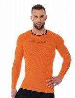 Brubeck LS13000 Koszulka męska 3D Run PRO z długim rękawem pomarańczowy