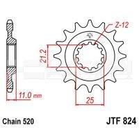 Zębatka przednia JT F824-13, 13Z, rozmiar 520 2201617 Husqvarna TE 310