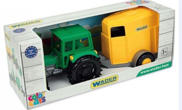 Traktor Farmer z przyczepą z konikiem Wader 35023