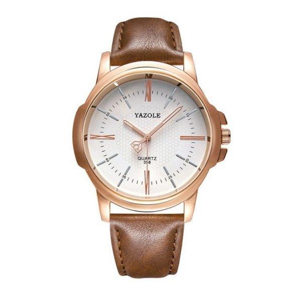 Zegarek męski yazole biała tarcza brązowy pasek ZM93BBR