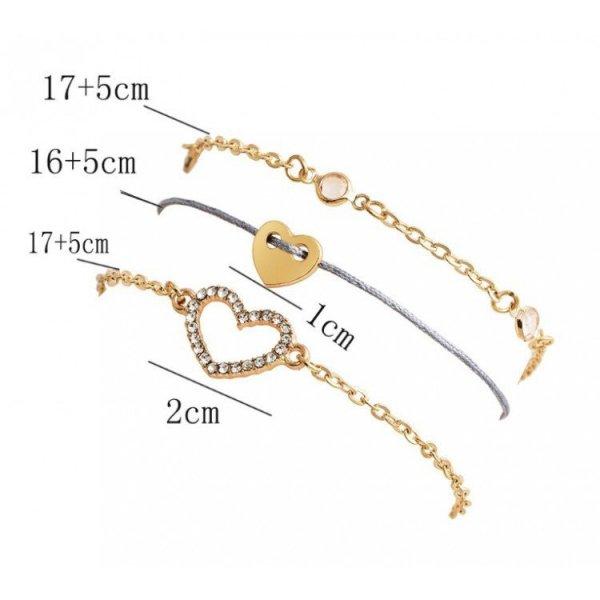 Zestaw 3w1 bransoletki serduszko B324