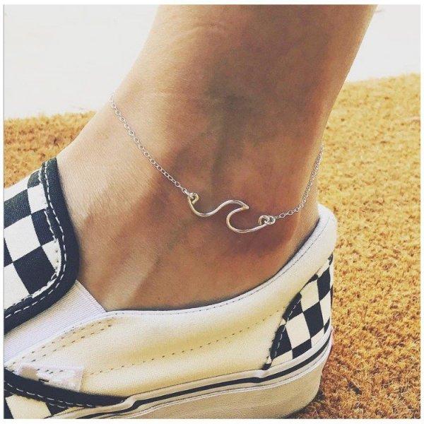 Bransoletka na stopę srebrna fala B325S