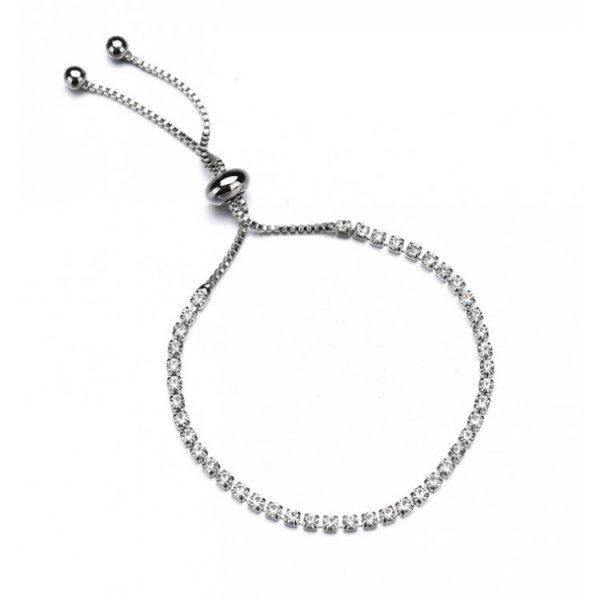 Bransoletka kryształki pleciona kolor srebra B278S