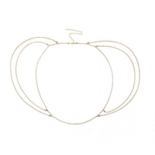 Pasek ozdobny do sukienki, spodni złoty kryształ PAS09