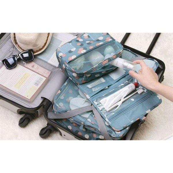 Organizer na kosmetyki, kosmetyczka rozkładana niebieska w kwiaty KS18WZ1