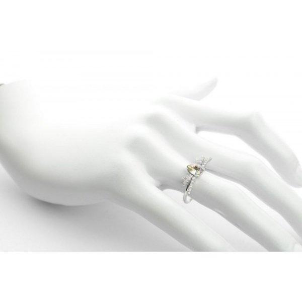 PIERŚCIONEK KRYSZTAŁEK SWAROVSKI STAL PLATEROWANA BIAŁYM ZŁOTEM PST452, Rozmiar pierścionków: US9 EU20