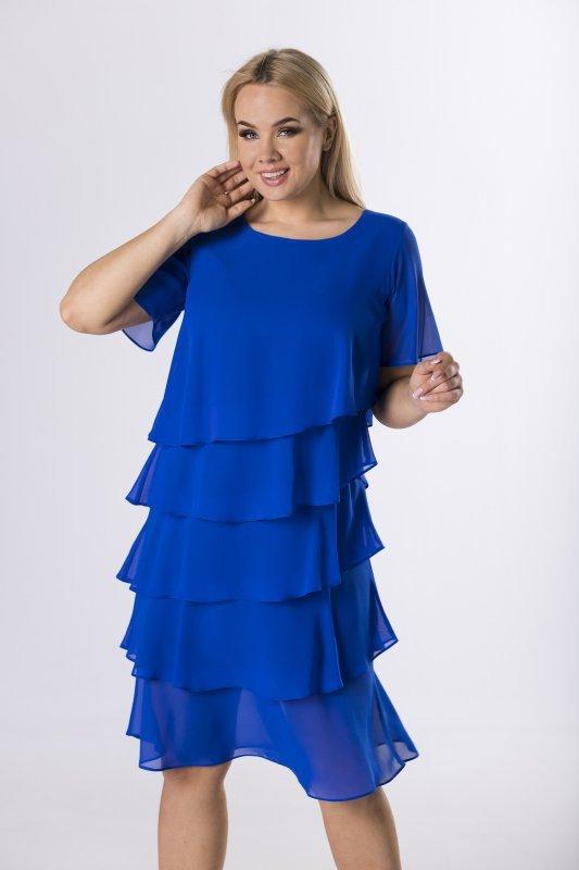 tiulowa sukienka z asymetrycznymi falbanami