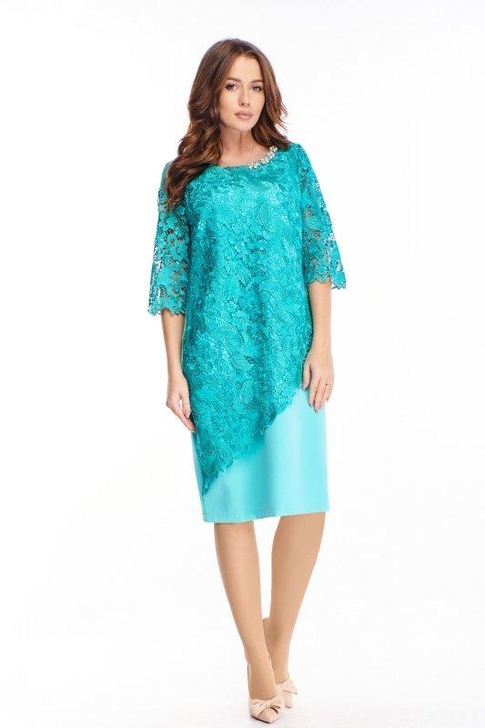 sukienka z gipiurą i biżuteryjną ozdobą