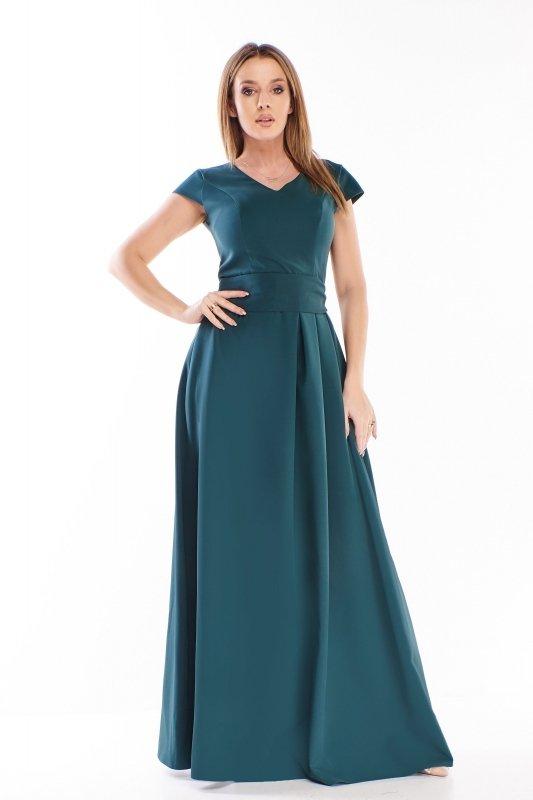 elegancka sukienka maxi z wiązaniem w pasie