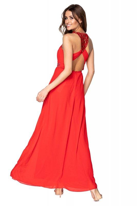tiulowa sukienka maxi z cekinami w pasie i odkrytymi plecami