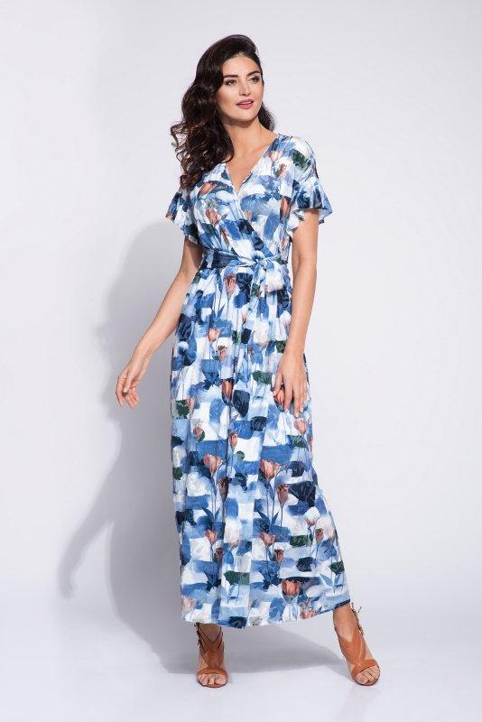 kopertowa sukienka maxi z wiązaniem w pasie