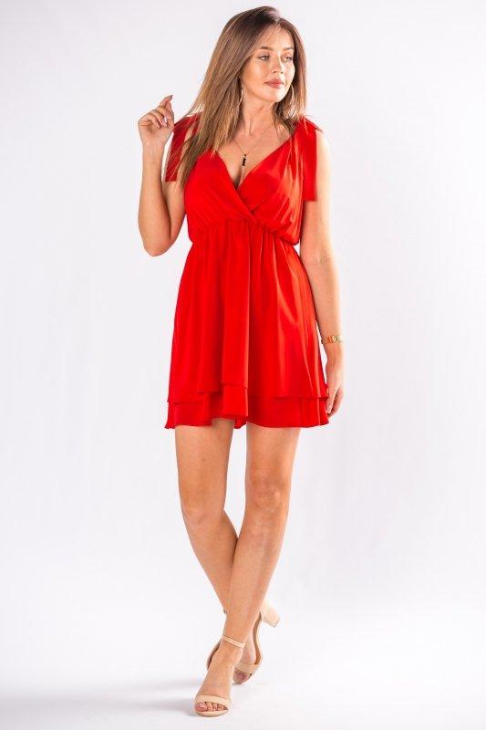 koktajlowa sukienka mini z wiązaniami na ramionach i kopertowym dekoltem w serek
