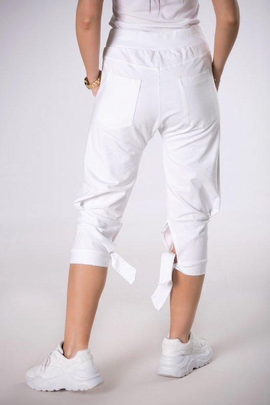 dresowe spodnie rybaczki z wiązaniem