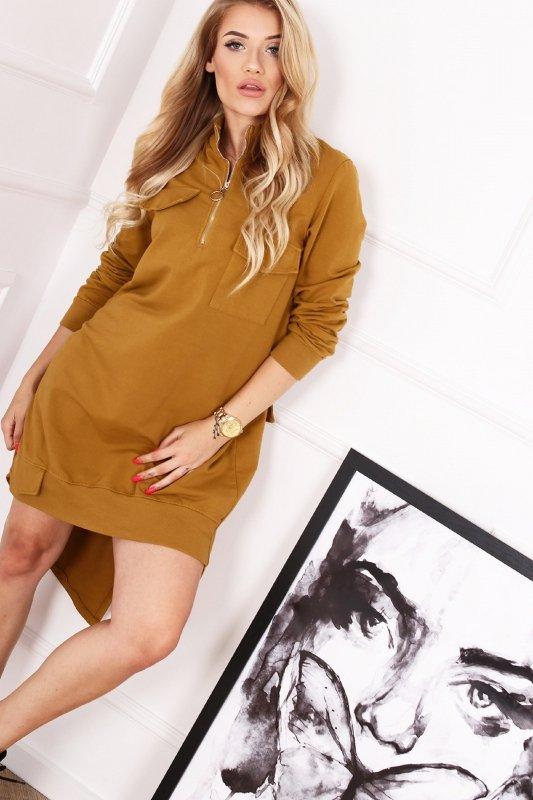 dresowa sukienka z ekspresem na biuście, ozdobnymi kieszeniami i asymetrycznym tyłem