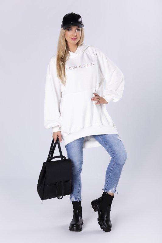 oversize'owa bluza z kapturem i nadrukiem na biuście