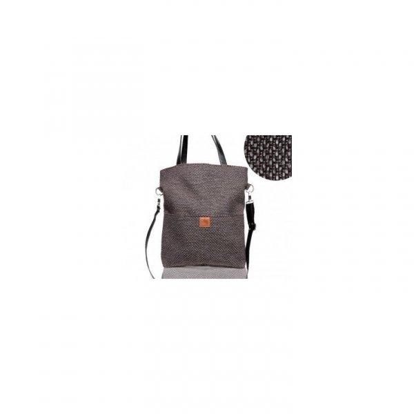 Duża brązowa prostokątna torba na ramię z czarnymi rączkami z eko skóry
