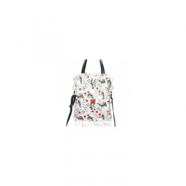Duża oryginalna, wiosenna torba w piękny kwiatowy wzór z kieszonkami