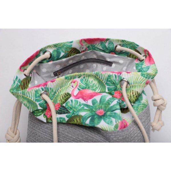 Torebka worek we flamingi i palmy - rączki ze sznurka.