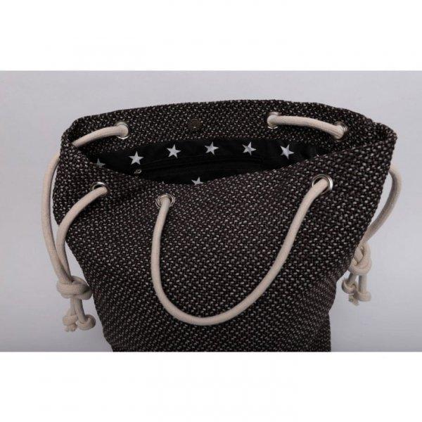Brązowa torba worek z grubej plecionki - rączki ze sznurka