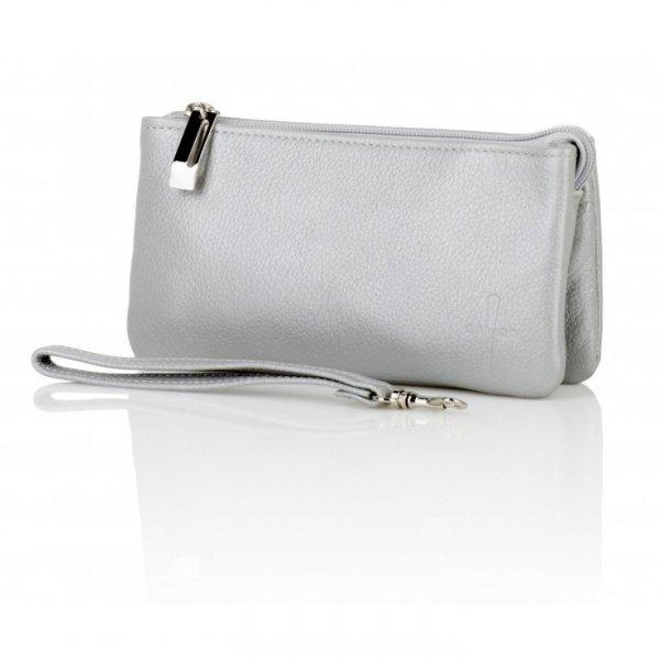 Damski portfel, kolor perłowo- szary