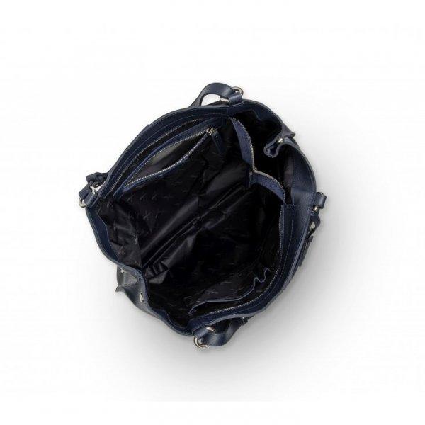 Duża granatowa torebka ze skóry naturalnej