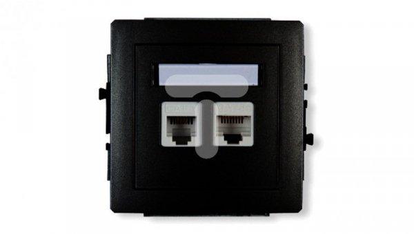 DECO Gniazda telefoniczne pojedyncze 1xRJ11 + komputerowego pojedynczego 1xRJ45, kat. 5e, 8-stykowy, beznarzędziowe czarny mat 1