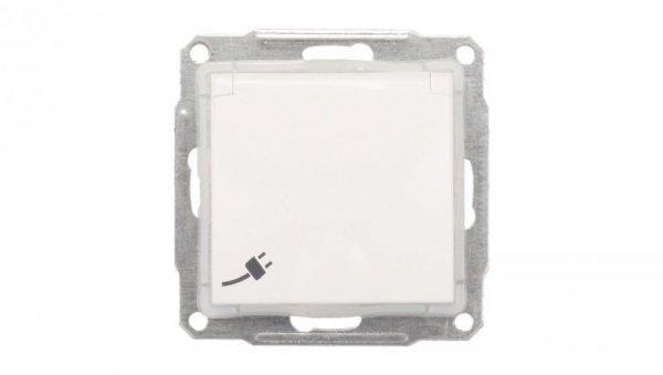 Sedna Gniazdo bryzgoszczelne pojedyncze z/u 16A IP44 z klapką białe SDN2800321