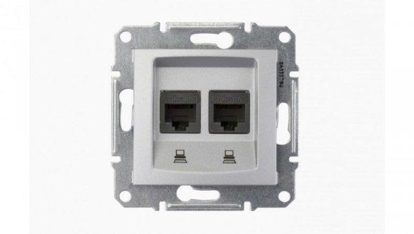 Sedna Gniazdo komputerowe podwójne RJ45 kat.5e UTP aluminium SDN4400160
