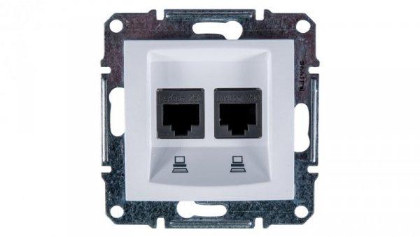Sedna Gniazdo komputerowe podwójne RJ45 kat.6 UTP białe SDN4800121