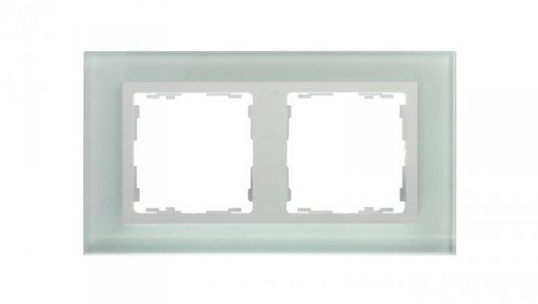 Simon 82 Ramka podwójna pozioma szklana natural/ ramka pośrednia biała 82627-60